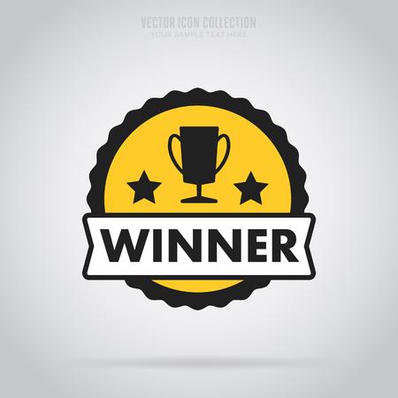 triunfador: aislado ganador insignia del vector en el estilo de diseño plano. insignia ganador colorido o etiqueta.