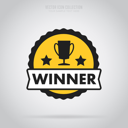Winner badge isolated vector in flat design style. Colorful winner badge or label.