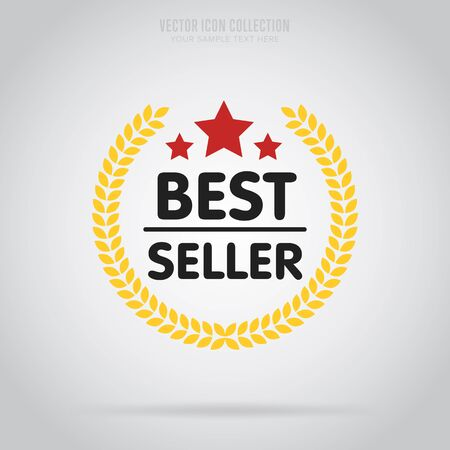 best quality: Best seller badge isolated vector in flat design style. Colorful abstract badge or label.