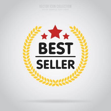 Mejor aislado del vector vendedor placa en estilo diseño plano. insignia abstracta de colores o la etiqueta.