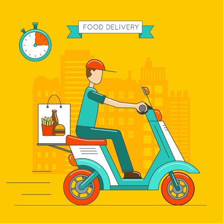 diseño de la entrega de alimentos. entrega scooter. Ilustración del vector.