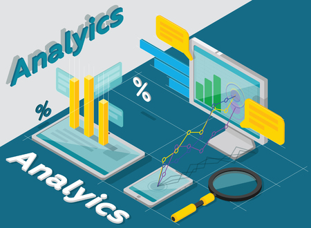 optimizing: Analytics of concept, research, results, performance. Vector isometric. Business research. Optimizing Internet. Charts isometric. Vector illustration.
