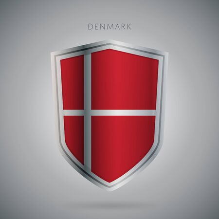 denmark flag: Flags europe vector icon. Denmark flag, isolated. Modern design. National country flag. Country of member the European Union.