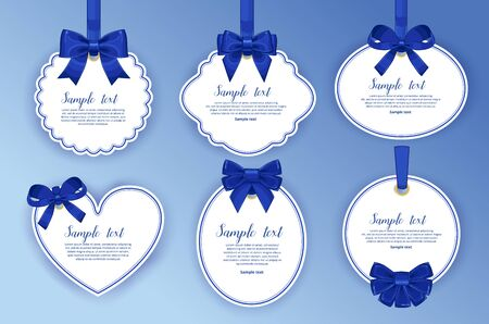 white bow: Gift tag with bow. Gift label collection.