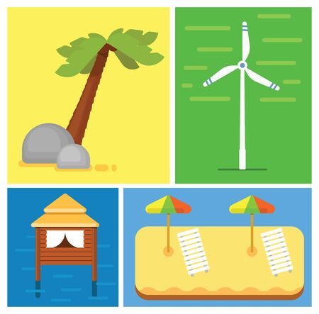 loungers: Beach vacation. Sun loungers with parasols on the sand. House to relax in the sea. Palm. Alternative energy source. Eco tourism.