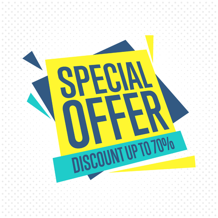 offer: Sale badge, vector in flat design style. Secial offer and discount badge. Illustration