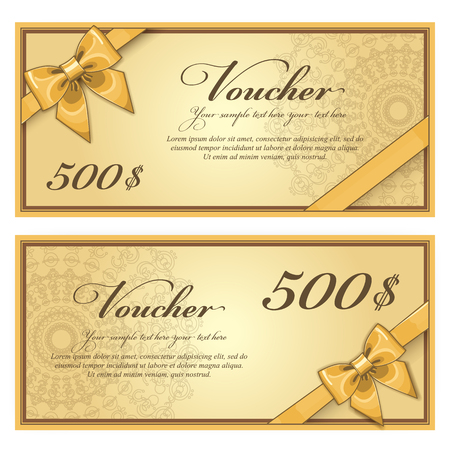 Gift discount voucher template, vector layout. Special offer coupon. Business voucher layout with gift bow gold. Vintage style.