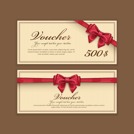 vouchers: Gift discount voucher template, vector layout. Special offer coupon. Business voucher layout with gift bow red color. Vintage style. Illustration