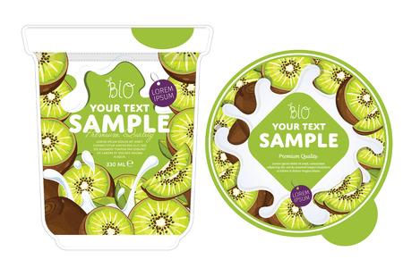 Kiwi Yogurt Packaging Design Template. Yogurt Splash on Kiwi. Milk Spash. Kiwi yogurt. Sweet desert. Healthy breakfast. Dairy product. Organic food. Ilustração