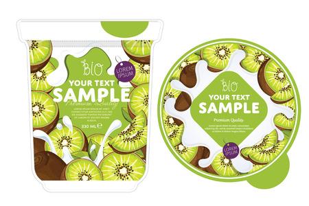 Kiwi Yogurt Packaging Design Template. Yogurt Splash on Kiwi. Milk Spash. Kiwi yogurt. Sweet desert. Healthy breakfast. Dairy product. Organic food. Vectores
