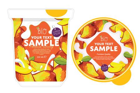 Mango Yogurt Design Packaging Template. Yogourt Splash sur Mango. Milk Spash, Mango yogourt. Doux désert. Petit-déjeuner sain. Produit laitier. Aliments biologiques.
