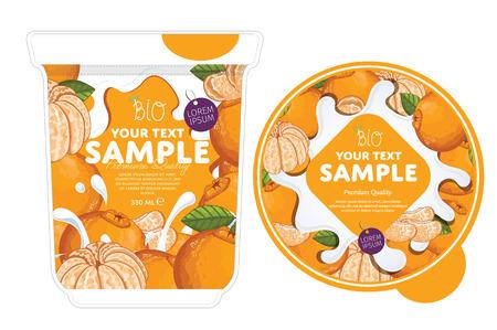frozen drink: Mandarin Yogurt Packaging Design Template. Yogurt Splash on Mandarin. Milk Spash, Mandarin yogurt. Sweet desert. Healthy breakfast. Dairy product. Organic food.
