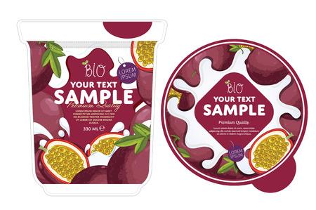 passion fruit: Passion fruit Yogurt Packaging Design Template. Yogurt Splash on Passion fruit. Milk Spash, Passion fruit yogurt. Sweet desert. Healthy breakfast. Dairy product. Organic food.