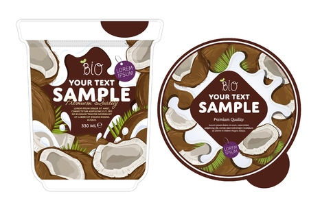 Coconut Yogurt Packaging Design Template. Yogurt Splash on Coconut. Milk Spash, Coconut yogurt. Sweet desert. Healthy breakfast. Dairy product. Organic food.