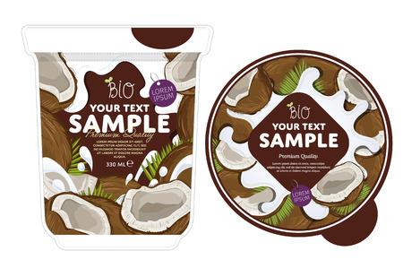 Kokos Yoghurt Verpakking Ontwerp Sjabloon. Yoghurt Splash op Coconut. Melk Spash, Coconut Yoghurt. Zoete woestijn. Gezond ontbijt. Zuivelproduct. Biologisch voedsel.