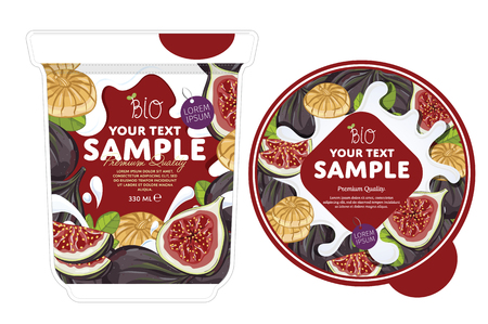 fig: Fig Yogurt Packaging Design Template. Yogurt Splash on Fig. Milk Spash, Fig yogurt. Sweet desert. Healthy breakfast. Dairy product. Organic food. Illustration