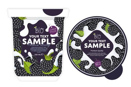 Strawberry Yogurt Packaging Design Template. Yogurt Splash on Strawberry. Milk Spash, Strawberry yogurt. Sweet desert. Healthy breakfast. Dairy product. Organic food.
