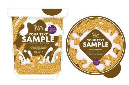 cereal bowl: Cereal Yogurt Packaging Design Template. Yogurt Splash on Cereal. Milk Spash. Cereal yogurt. Sweet desert. Healthy breakfast. Dairy product. Organic food. Illustration