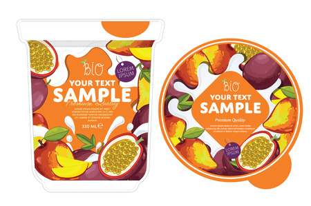 Passion fruit mango Yogurt Packaging Design Template. Yogurt Splash on Passion fruit mango. Milk Spash, Passion fruit mango yogurt. Sweet desert. Healthy breakfast. Dairy product. Organic food. Illustration