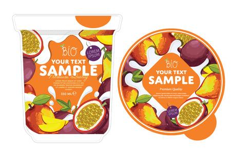 Passion fruit mango Yogurt Packaging Design Template. Yogurt Splash on Passion fruit mango. Milk Spash, Passion fruit mango yogurt. Sweet desert. Healthy breakfast. Dairy product. Organic food. Vettoriali