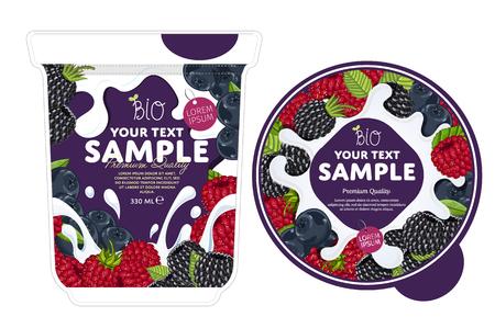 Frutti di bosco Yogurt Packaging Design Template. Yogurt Splash su frutti di bosco. Latte Spash, ai frutti di bosco yogurt. deserto dolce. Colazione salutare. prodotti lattiero-caseari. Cibo organico.