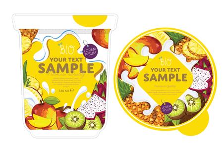 Tropical fruit Yogurt Packaging Design Template. Yogurt Splash on Tropical fruit. Milk Spash, Tropical fruit yogurt. Sweet desert. Healthy breakfast. Dairy product. Organic food.