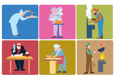 commercial kitchen: Chefs from around the world prepare their specialties. Vector illustration of chefs at work.