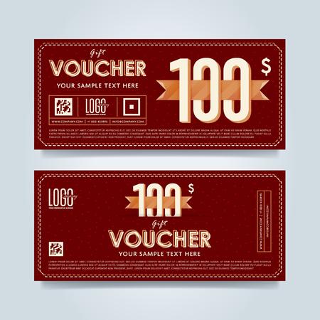 restaurant bill: Gift discount voucher template, vector layout. Special offer coupon. Business voucher layout. Illustration
