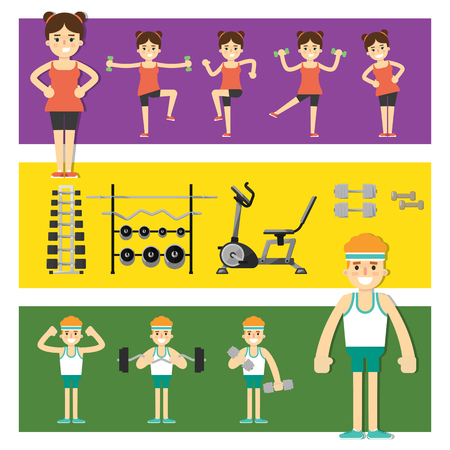 iron fun: People involved in the gym, vector illustration. Girl performs sporting exercises. Man is engaged with a barbell or dumbbells.