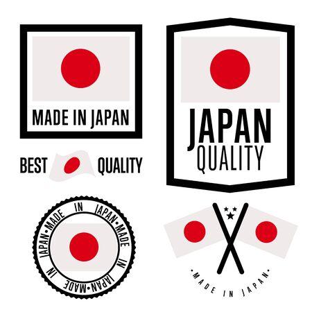 Made in Japan set di etichette. Vettore Giappone bandiera. Simbolo di qualità. Produzione da parte del Giappone. Tag e raccolta di adesivi. Vintage e timbro moderno. Vettoriali