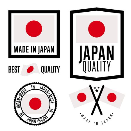 Made in Japan Set-Label. Vector Japan-Flagge. Symbol für Qualität. Die Herstellung von Japan. Stichworte und Aufklebersammlung. Weinlese und moderne Stempel. Vektorgrafik