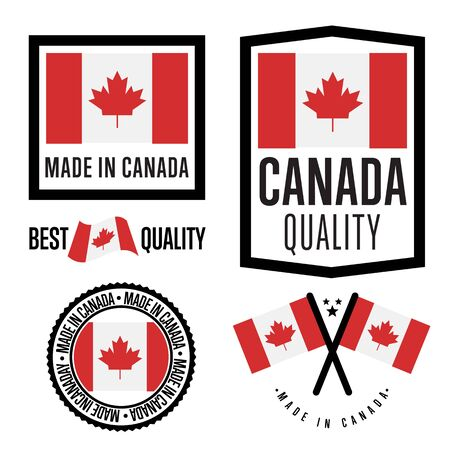 canada stamp: Made in Canada label set. Vector Canada flag. Symbol of quality. Manufacturing by Canada. Tags and sticker collection. Vintage and modern stamp.