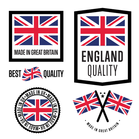 great britain flag: Made in Great Britain label set. Vector Great Britain flag. Symbol of quality. Manufacturing by UK. Tags and sticker collection. Vintage and modern stamp.