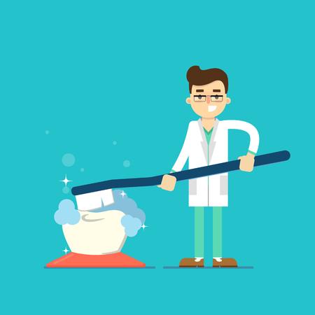 Dentiste avec la dent icône isolé, illustration vectorielle