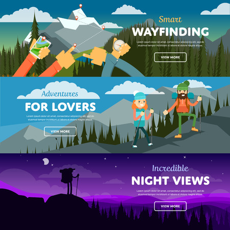 Banners of hiking, trekking and andventure. Vector illustration. Activity life. Outdoor leisure. Extreme tourism. Mountain peak. Vector Illustration