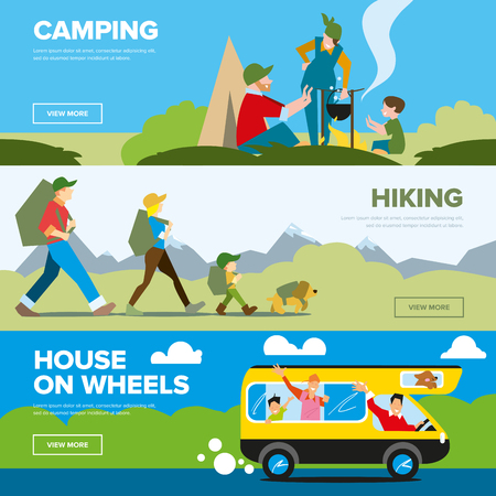 family hiking: Banners of hiking and family adventure. Weekend journey. Vector illustration. Activity life. Outdoor leisure. House on wheels. Illustration