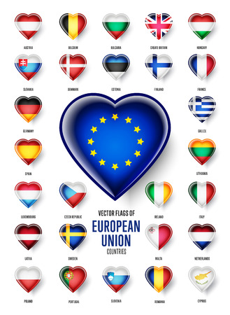 kingdom of spain: European Union country flags icon set, vector.