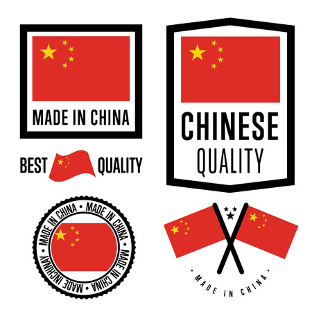 made in china: Made in China label set. Vector China flag. Symbol of quality. Manufacturing by China. Tags and sticker collection. Vintage and modern stamp.