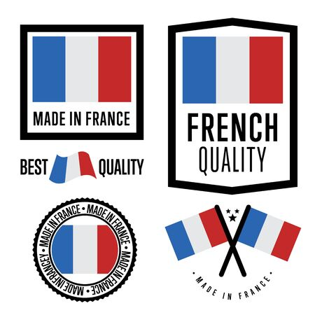 france stamp: Made in France label set. Vector France flag. Symbol of quality. Manufacturing by France. Tags and sticker collection. Vintage and modern stamp.