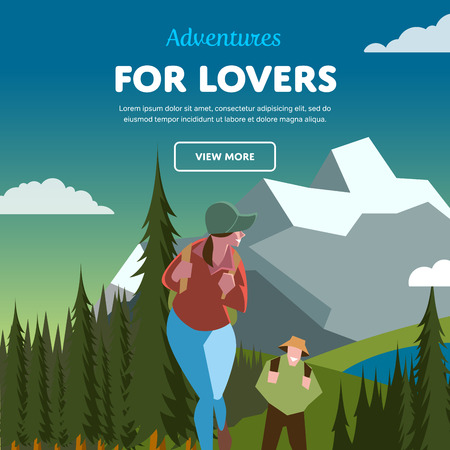 mountain peak: Hiking concept vector illustration. Couple of outdoor adventure. Backpacker in forest.