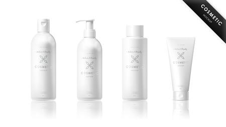 cosmeticos: realista botella maqueta conjunto. el paquete aislado en el fondo blanco. plantilla de la marca de cosméticos. embalaje de vector. Aceite, loción, champú. Vectores