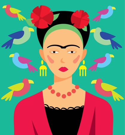 Mexican woman in makeup, raster illustration. Cartoon Characters.