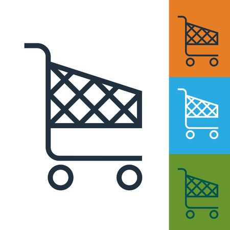 supermarket trolley: Shopping cart icon raster. Isolated supermarket trolley.