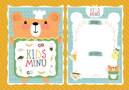 menus: Kids menu bitmap template, cartoon design with funny characters.