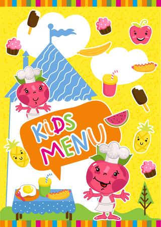 cocina saludable: Kids menu bitmap template, cartoon design with funny characters.