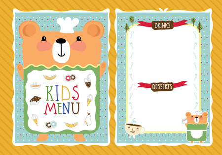 bitmap: Kids menu bitmap template, cartoon design with funny characters.