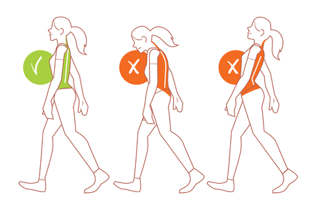 backache: Correct spine posture. Position of body when walking. Stock Photo