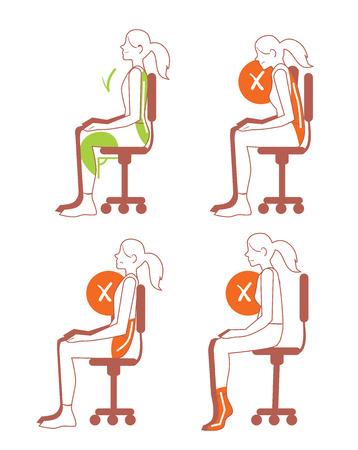 buena postura: Posiciones sentadas. posición sentada correcta y el mal, el dolor de espalda, ilustración de mapa de bits