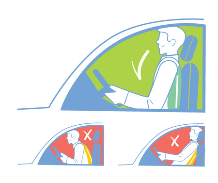 incorrect: Correct and incorrect position when riding in the car, back pain.