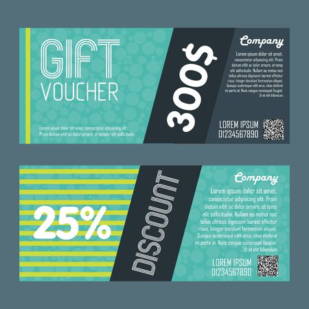 bitmap: Gift voucher template. Back and front side of the coupon. Bitmap illustration.